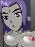 Raven from Teen Titans put off coat and play with dildo